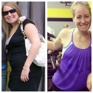 Before and after photo of a successful weight loss client Jenny