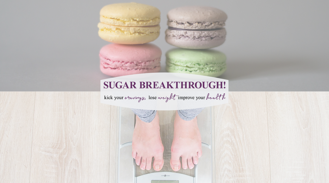 Image showing sweet treats on top and woman's feet standing on scale at the bottom. Text says Sugar Breakthrough. Kick your cravings, lose weight, improve your health